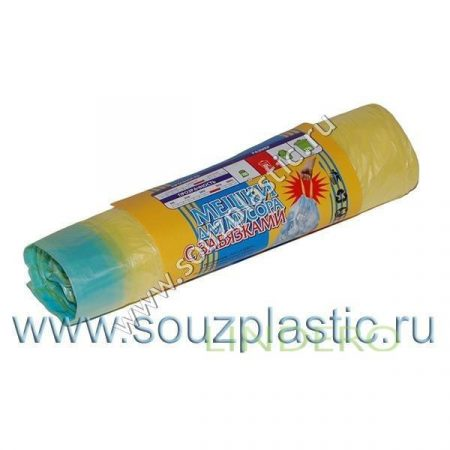фото: Мешок для мусора с завязками 35л (20шт) (рулон) зеленые 12мкр [671017/К3520 З]