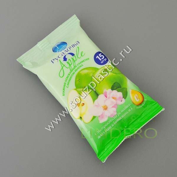 фото: Влажные освежающие салфетки с ароматом зеленого яблока 15 штукРУСАЛОЧКА [075418]