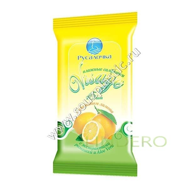фото: Влажные освежающие салфетки с ароматом лимона 15 штук VISAGE [075289]