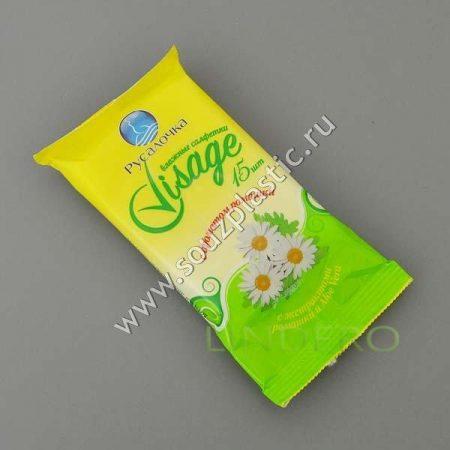 фото: Влажные освежающие салфетки с ароматом ромашки 15 штук VISAGE [075272]