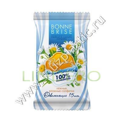 фото: Салфетки влажные Bonne Brise cosmetic Освежающие с экстрактом ромашки 15 шт [A3]